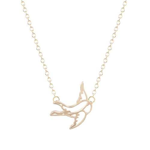 Swallow Bird Pendant Necklace - Gold Tone