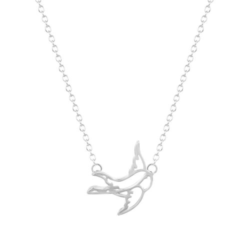 Swallow Pendant Necklace - Silver Tone