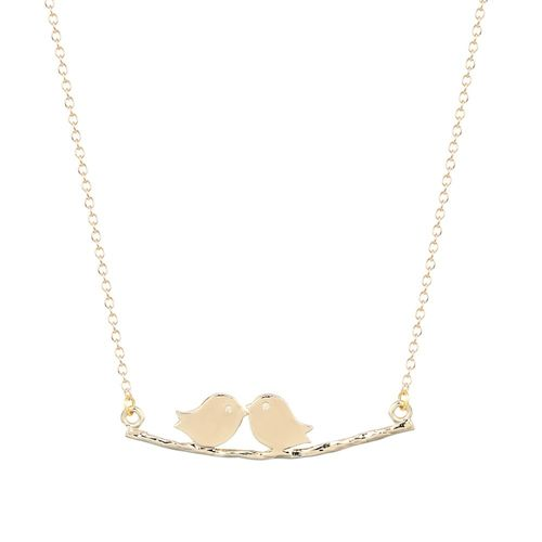 Birds on a Branch Pendant Necklace - Gold Tone