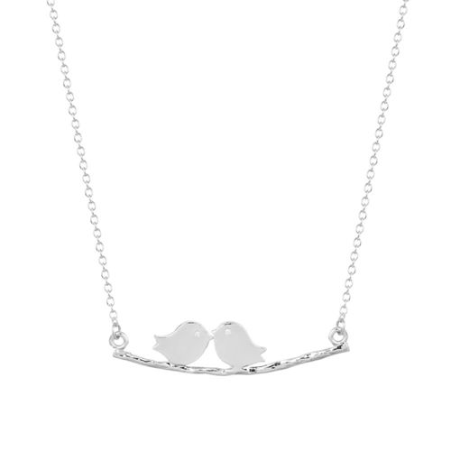 Birds on a Branch Pendant Necklace - Silver Tone