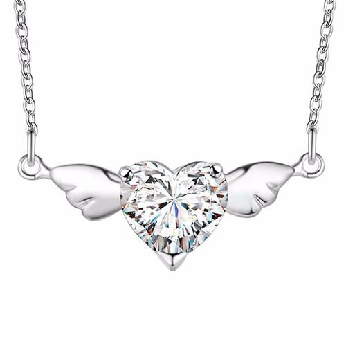 CZ Heart Angel Pendant Necklace - Sterling Silver