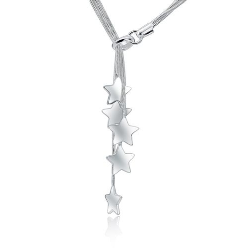 Star Charm Pendant Chain Necklace - Silver