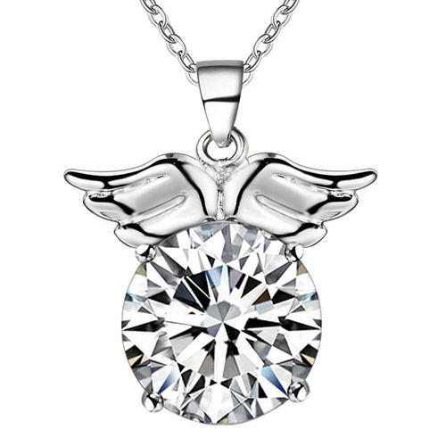 CZ Angel Wing Pendant Necklace - (S925) Silver