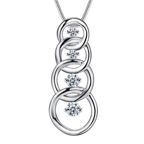 CZ Tiered Drop Pendant Necklace - (S925) Silver