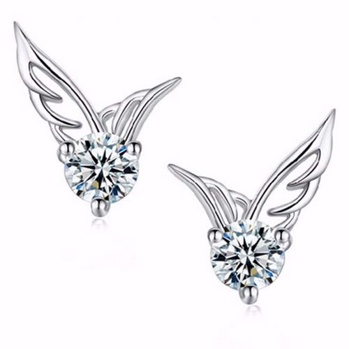 Crystal Guardian Wing Stud Earrings - Silver Tone
