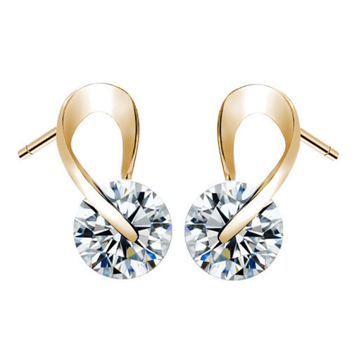 Zircon Infinity Stud Earrings - Gold Tone