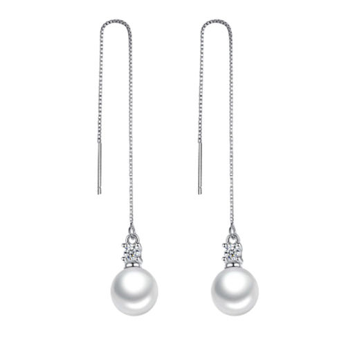 Pearl Long Drop Threaders - Silver Tone