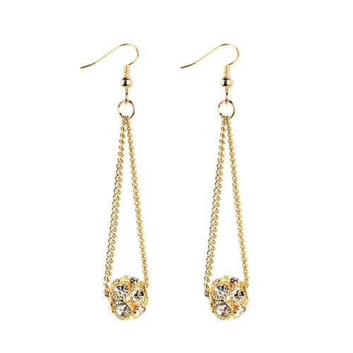 Chain Shiny Ball Drop Earrings - Gold Tone