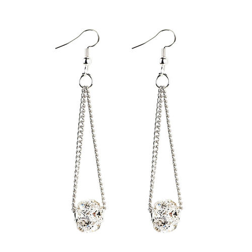 Chain Shiny Ball Drop Earrings - Silver Tone