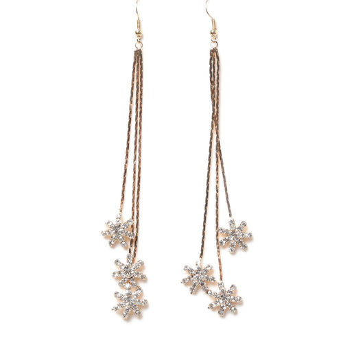 Three Snowflakes Long Drop Earrings - Gold Tone