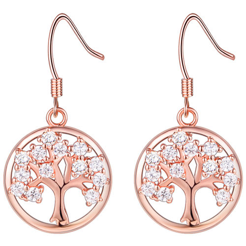 CZ Tree of Love Drop Earrings - Gold Tone