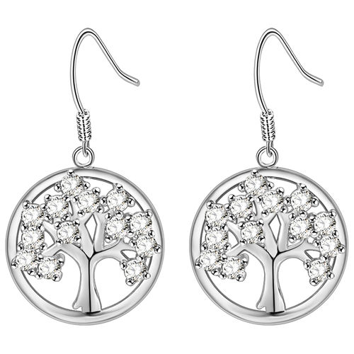 CZ Tree of Love Drop Earrings - Silver Tone