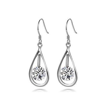 Crystal Water Drop Earrings - Platinum Gold Tone