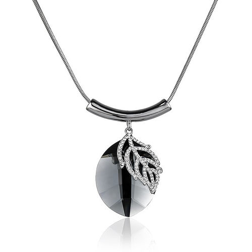 Oval Leaf Crystal Pendant Necklace - Silver Tone
