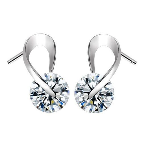 Zircon Infinity Stud Earrings - Silver Tone