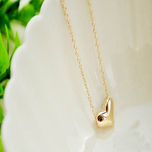 Peach Heart Pendant Necklace - Gold Tone