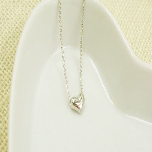 Peach Heart Pendant Necklace - Silver Tone