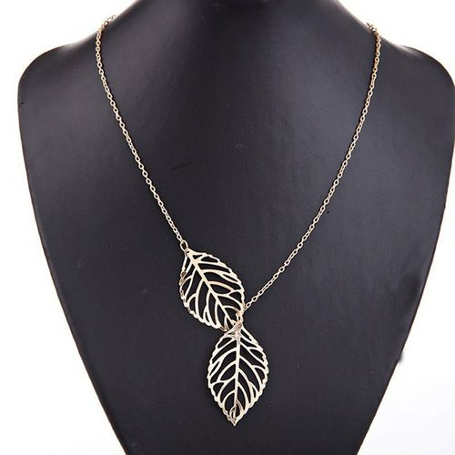 Leaf Pendant Necklace Chain - Gold Tone