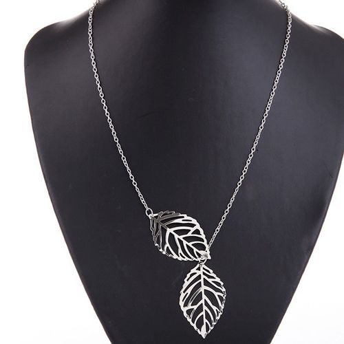 Leaf Pendant Necklace Chain - Silver Tone