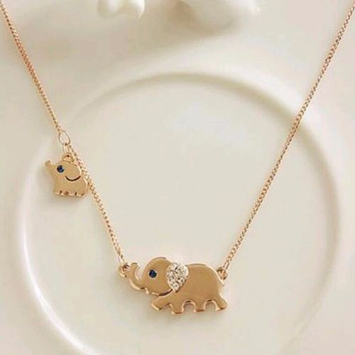 Elephant Charm Chain Necklace - Gold Tone