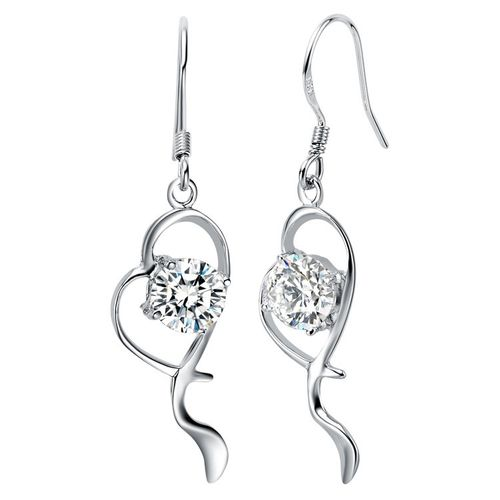 CZ S925 Silver Heart Drop Earrings