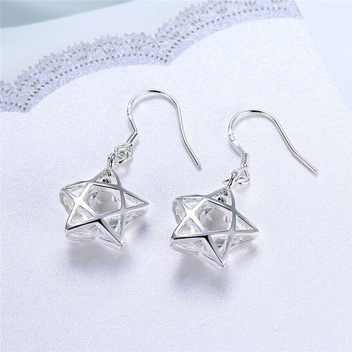 CZ Filigree Star Drop Earrings S925 Silver