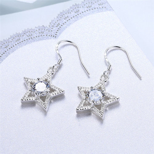 CZ S925 Silver Star Drop Earrings
