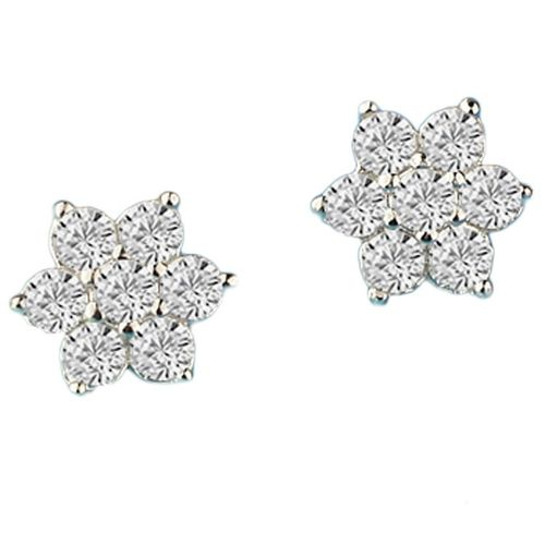 CZ Flower Stud Earrings - Silver Tone