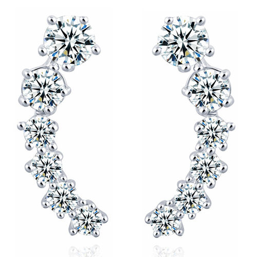 Climber CZ Stud Earrings - Silver Tone