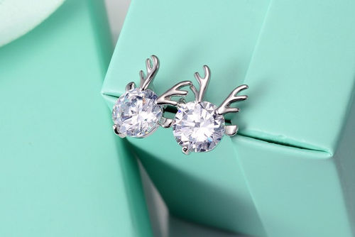 CZ Deer Stud Earrings - Silver Tone