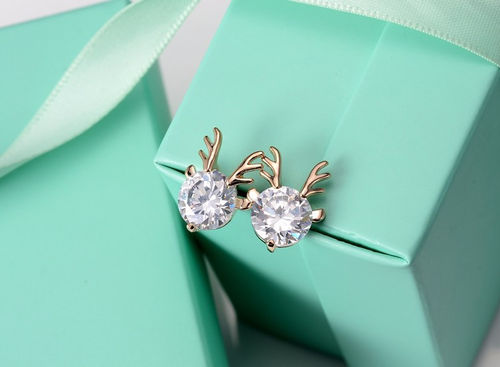 CZ Deer Stud Earrings - Gold Tone