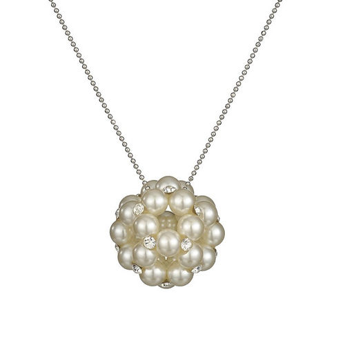 Handmade Pearl Zircon Ball Necklace - Gold Tone