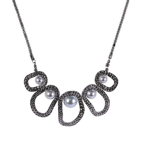 Pearl Circle Statement Necklace - Gunmetal Tone