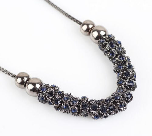 Multi Blue Crystal Necklace  - Gunmetal Tone