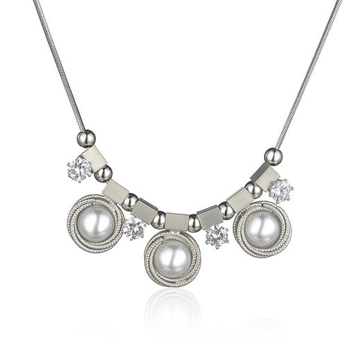 Pearl CZ Statement Necklace - White Gold Tone