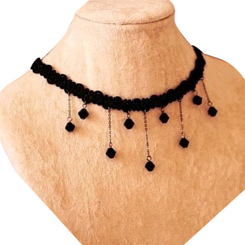 Handmade Crochet Lace w/ Drops Clavicle Necklace