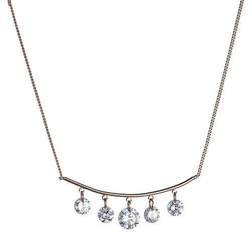 Curved Bar CZ Necklace - Rose Gold Tone