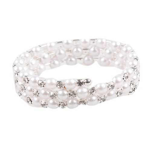 Handmade Three Layers Pearl Crystal Bracelet