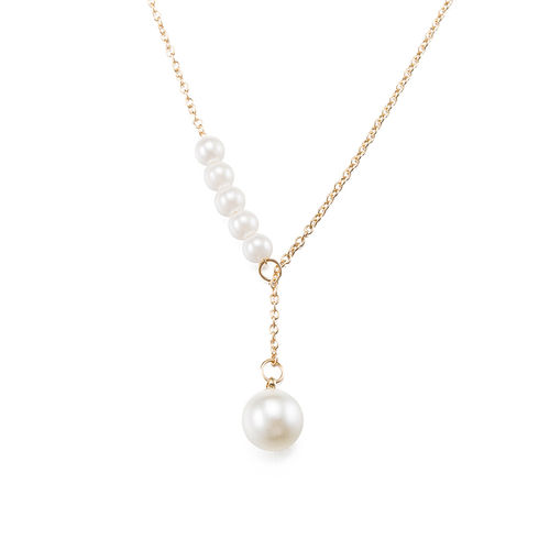 Pearl Pendant Lariat Necklace - Gold Tone