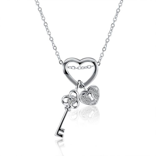 Lock Key Crystal Pendant Necklace - S925 Silver