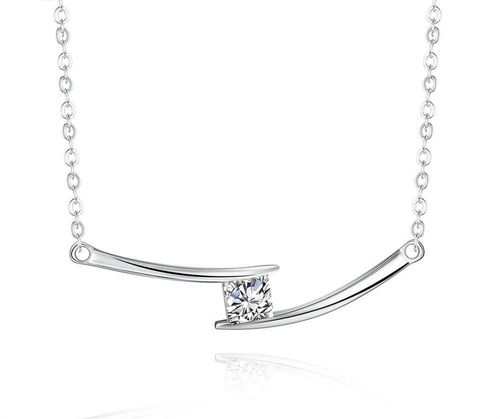 Curved Bar Square CZ Chain Necklace - S925 Silver