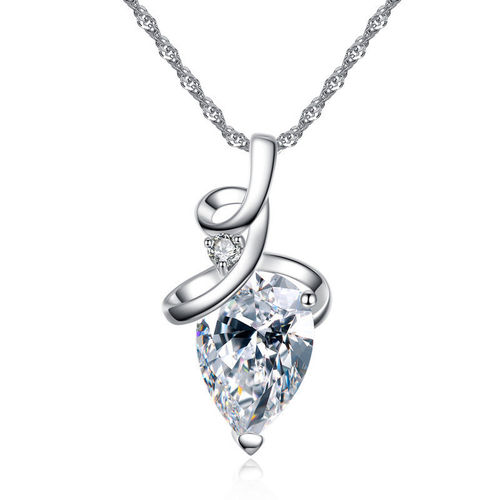 White CZ Water Drop Pendant Necklace - Silver Tone
