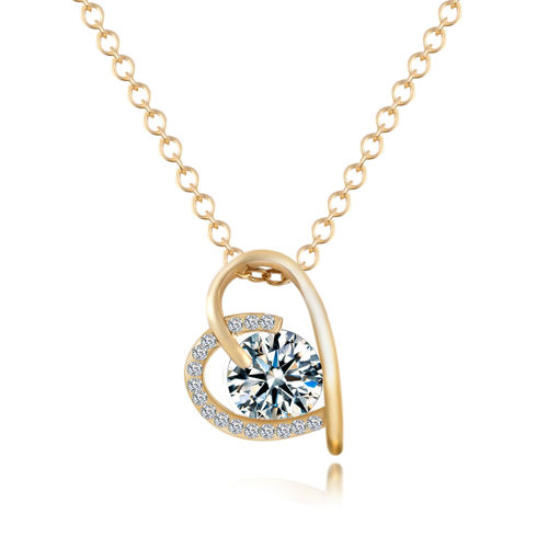 CZ Open Heart Pendant Necklace - Gold Tone