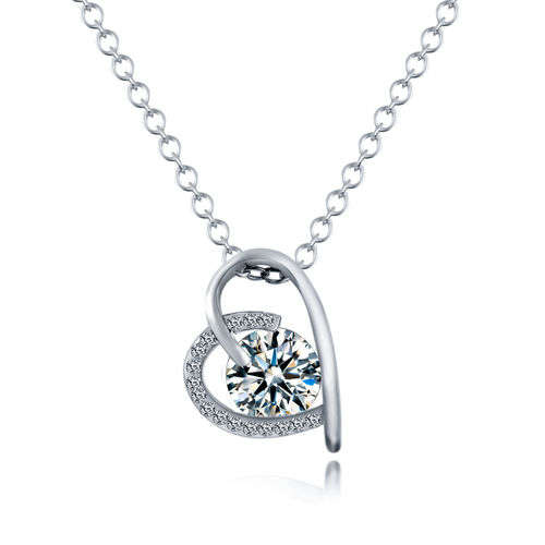 CZ Open Heart Pendant Necklace - Silver Tone