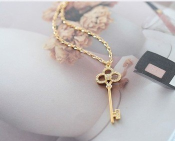 Crystal Key Pendant Necklace  - Gold Tone