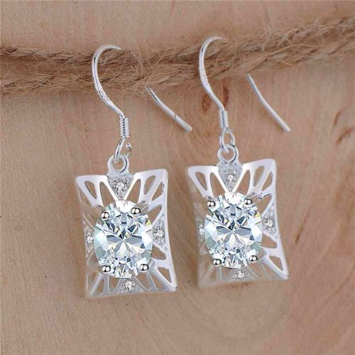 CZ Rectangle Drop Earrings - S925 Silver