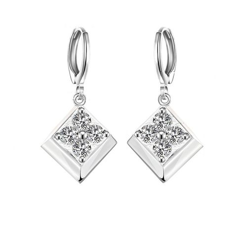 Crystal Flower Drop Earrings - S925 Silver
