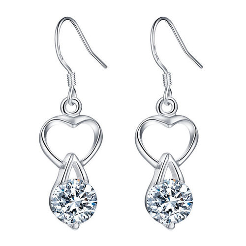 CZ Heart Drop Earrings - (S925) Silver