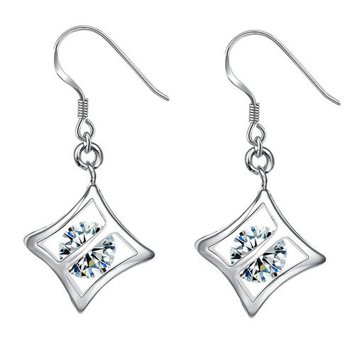 CZ Square Cage Drop Earrings - S925 Silver