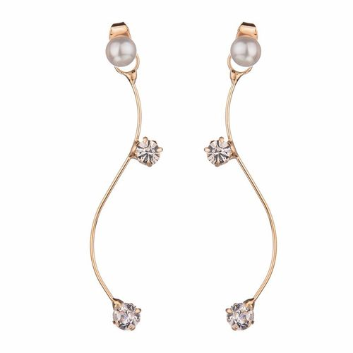 Pearl Crystal S Shaped Stud Earrings - Gold Tone